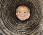 A young mother's quick shot of her son calling her, like he does several dozen times a day, results in a truly whimsical view of his round little face framed by the culvert that runs under their driveway.  Painting the circular rings on batik fabric with fabric dyes created the culvert which was enhanced with machine embroidery.  The face is pieced and then embroidered, and a touch of fabric paint is added for the finish.