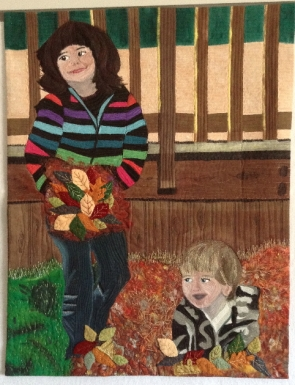 "Critique Session Suggestions: 1. Remove 4"" off right side to assist the shape of the small boy, and it doesn't add anything anyway. 2. Add more falling leaves so it doesn't look like she is holding a bouquet. 3. Add shading to the wall behind the decking as its brightness distracts from the focal point."