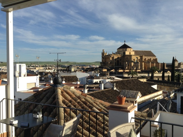 Sunday, April 20, 2015. Rooftop Terrace Pairi Daeza Restaurant view of the Mezquita Mosque-Cathedral.
