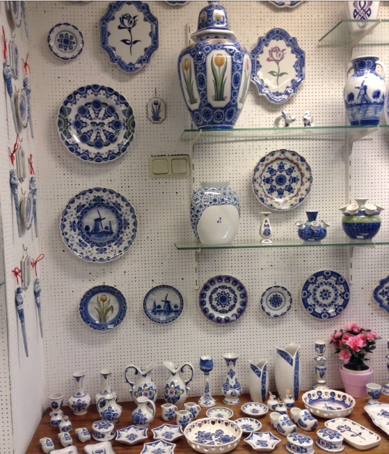 The sales area is adjacent to the creative process in quite a small space, actually. It carries the legal mark for Delft ware. Items made in China or other locations are not truly Delft ware.