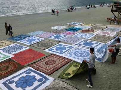 Cloth for sale (from India?) on the Monterosso al Mare beach - best beach of the five villages.
