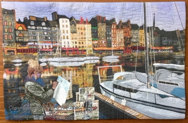 """The Port of Honfleur, Honfleur, France: (21.5""""w x 14""""h) 2018The Port of Honfleur is the harbor of the Norman town of Honfleur, France. Expeditions to Quebec from this harbor led to its development. Le Vieux Bassion (the old basin) has enchanted residents and visitors for centuries. Artists still strive to render paintings of the buildings and their reflections in the water. $300"""