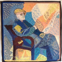 """En Vacance: (24""""x24"""") 2017 This tourist relaxes and watches the world go by. Created in the style of Van Gogh. NFS"""