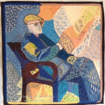 "En Vacance: (24""x24"") 2017 This tourist relaxes and watches the world go by. Created in the style of Van Gogh. NFS"