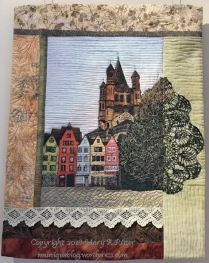 Fischmarkt Street: (19 x 24) 2018 In Cologne, Germany, Fishmarkt Street remains much as it did centuries ago. Looming over it is the Cologne Cathedral showing great contrast in its architecture. $300