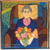 """Le Fleures pour Grand-Mere: (24""""x24"""") 2017 The life, energy and color in a photograph of my 99 year-old mother when she received her bouquet of roses on Mother's Day was an inspiration that Van Gogh would have loved. Traveling the world and creating artwork that tells the story of places I've visited and people I've known, are two of my passions. After visiting Auberge Ravoux in Auvers-sur-Oise near Paris where Van Gogh lived his last days, I was inspired to study and appreciate his artwork and techniques. This piece is the result of that interest. Created in the style of Van Gogh. NFS"""