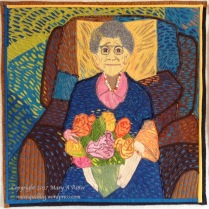 "Le Fleures pour Grand-Mere: (24""x24"") 2017 The life, energy and color in a photograph of my 99 year-old mother when she received her bouquet of roses on Mother's Day was an inspiration that Van Gogh would have loved. Traveling the world and creating artwork that tells the story of places I've visited and people I've known, are two of my passions. After visiting Auberge Ravoux in Auvers-sur-Oise near Paris where Van Gogh lived his last days, I was inspired to study and appreciate his artwork and techniques. This piece is the result of that interest. Created in the style of Van Gogh. NFS"