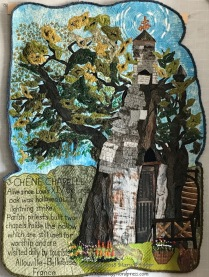 """The CHÉNE CHAPPELLE, France: (39""""w x 56""""h) 2018 The Oak Chapel still holds its ground as the priests and worshipers attend to its needs. $650"""
