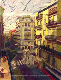 """TEA TIME on Callé de Cadiz: Valencia, Spain 2017 Mary A Ritter (25""""w x 33""""h) A Valencian scrambles back to her third floor condo ready to relax after a long day. After an hour or so, she will return to work until late evening. The tea is poured and she relaxes on the balcony overlooking Callé de Cadiz, watching the families beginning to gather for their siesta in the sidewalk cafés below. The traffic is quieted during this time of day, and the warmth of the sun and the tea are a respite from her busy world. $450"""