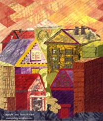 """Village 1: (15""""w x 19""""h) 2015 The sunshine filters through the buildings of the village as the sun sets. $150"""
